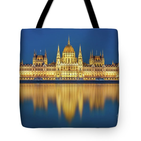 Budapest Parliament At Night Tote Bag
