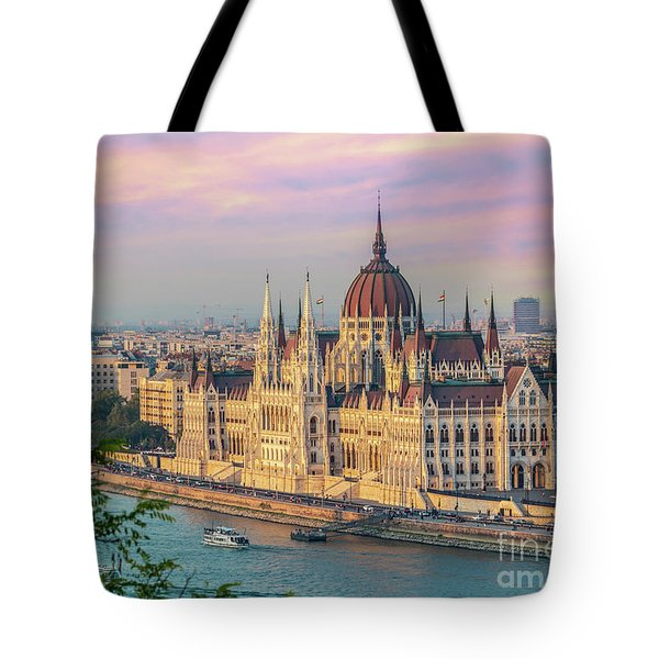Budapest Parliament At Sunset Tote Bag