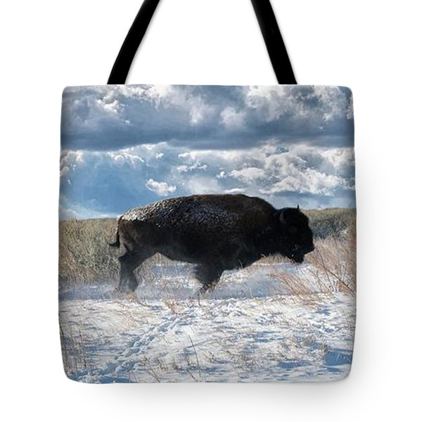 Tote Bag featuring the photograph Buffalo Charge.  Bison Running, Ground Shaking When They Trampled Through Arsenal Wildlife Refuge by OLena Art Brand