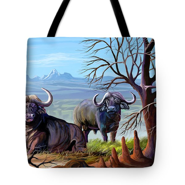 Buffaloes And The Mountain Tote Bag