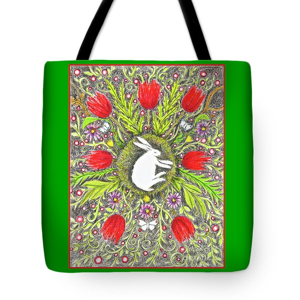 Bunny Nest With Red Flowers And White Butterflies Tote Bag