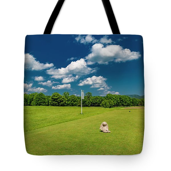 Bunny On The Golf Course Tote Bag