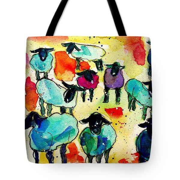 Bunte Schafe Tote Bag