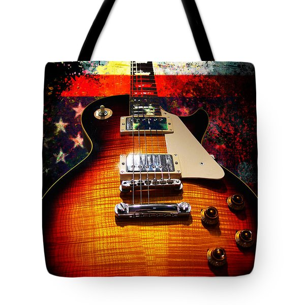 Burst Guitar American Flag Background Tote Bag