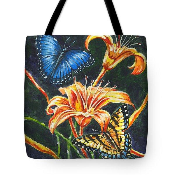 Butterflies And Flowers Sketch Tote Bag