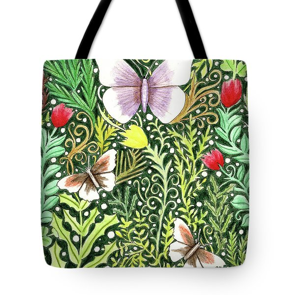 Butterflies In The Millefleurs Tote Bag