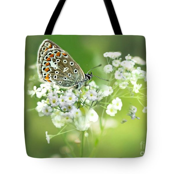 Butterfly On Babybreath Tote Bag