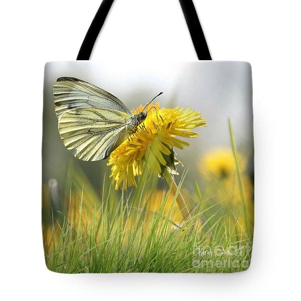 Butterfly On Dandelion Tote Bag