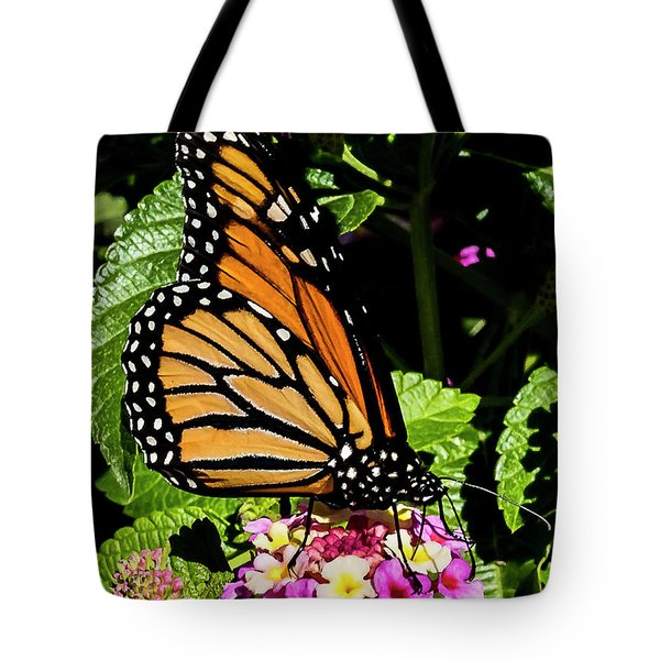 Tote Bag featuring the photograph Butterfly On Flower by Michael D Miller
