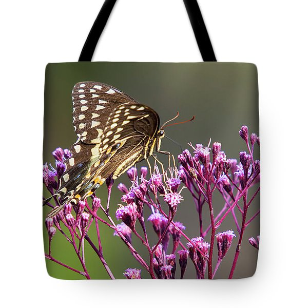 Butterfly On Wild Flowers Tote Bag