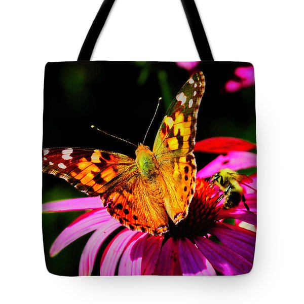 Tote Bag featuring the photograph Butterfly Wings Open by Meta Gatschenberger