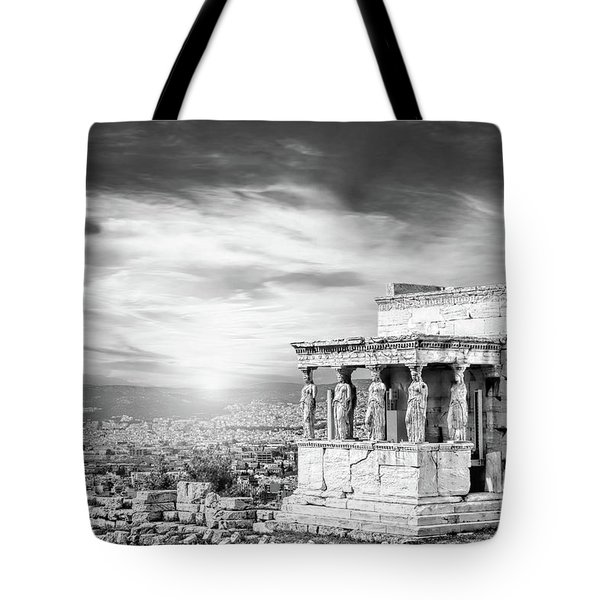 Bw - The Caryatids Of Acropolis In Athens, Greece Tote Bag
