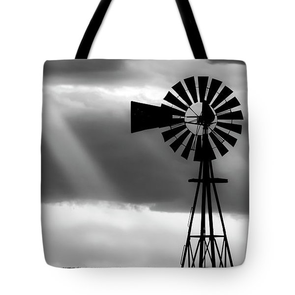 Tote Bag featuring the photograph Bw Windmill And Crepuscular Rays -01 by Rob Graham