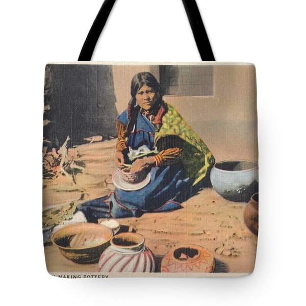 c1920 Moki Indian Pot Maker, Fred Harvey Arizona Color Postcard Tote Bag