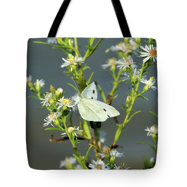 Cabbage White Butterfly On Flowers Tote Bag