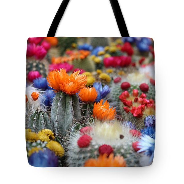 Tote Bag featuring the photograph Cacti Flowers by Top Wallpapers