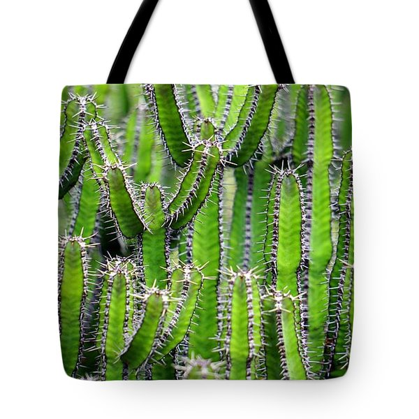 Tote Bag featuring the photograph Cacti Wall by Top Wallpapers