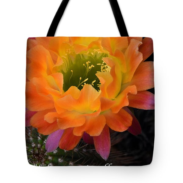 Cactus Flower We Will Rise Up Tote Bag