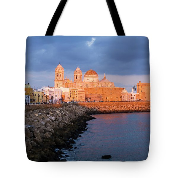 Tote Bag featuring the photograph Cadiz Skyline And Cathedral Andalucia Spain by Pablo Avanzini