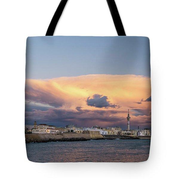 Tote Bag featuring the photograph Cadiz Skyline Under Cumulonimbus by Pablo Avanzini