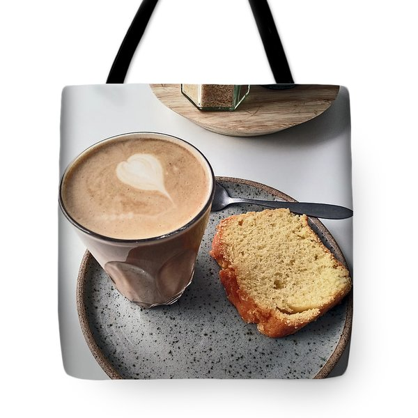 Cafe. Latte And Cake.  Tote Bag