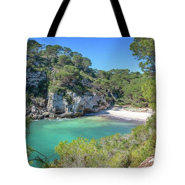 Cala Macarelleta Beach In Menorca Tote Bag