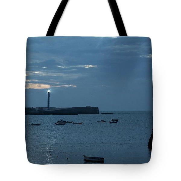 Tote Bag featuring the photograph Caleta Cove At Dusk Between Castles Cadiz Spain by Pablo Avanzini