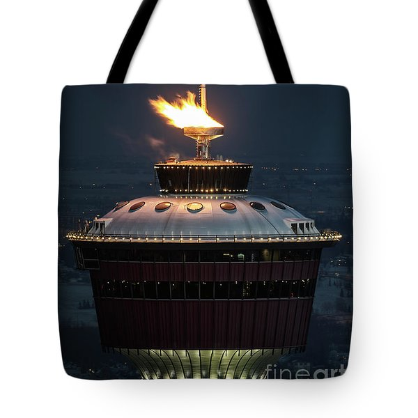Tote Bag featuring the photograph Calgary Tower - 2014 Olympic Torch by Brad Allen Fine Art