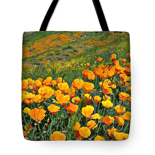 California Golden Poppies And Goldfields Tote Bag