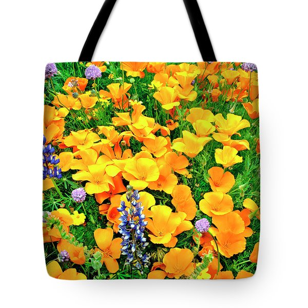 California Poppies And Betham Lupines Southern California Tote Bag