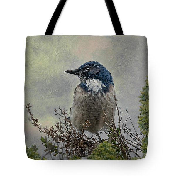 Tote Bag featuring the photograph California Scrub Jay - Vertical by Patti Deters