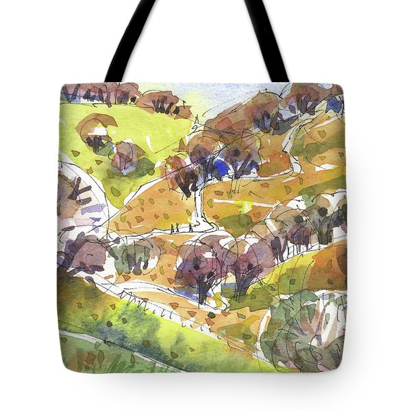 Tote Bag featuring the painting California Winter Landscape by Judith Kunzle