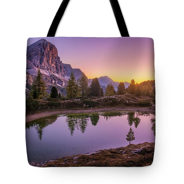 Calm Morning On Lago Di Limides Tote Bag