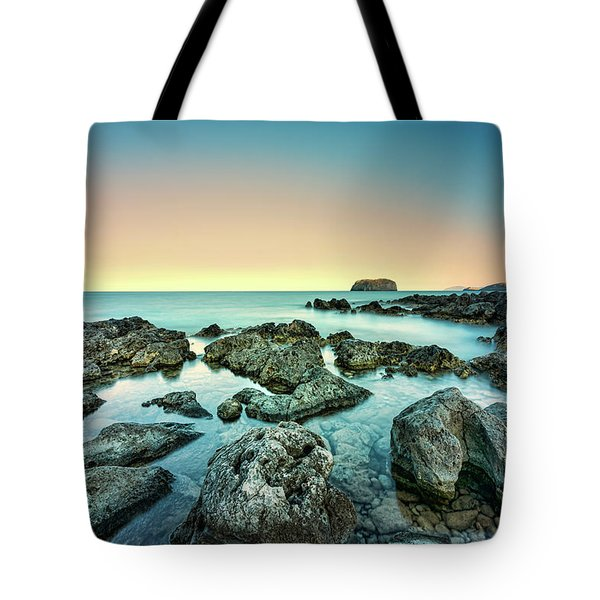 Tote Bag featuring the photograph Calm Rocky Coast In Greece by Milan Ljubisavljevic