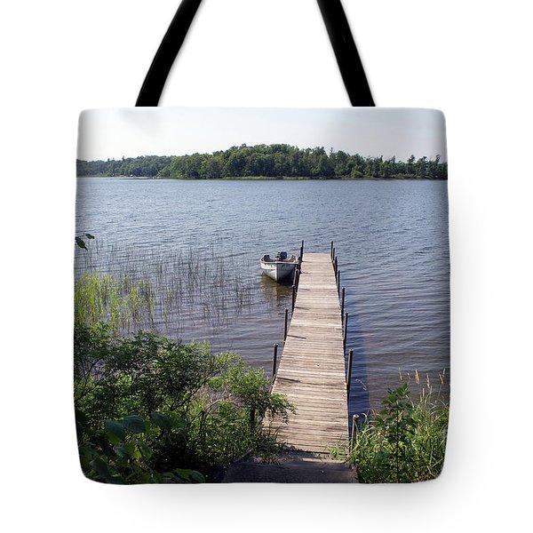 Tote Bag featuring the photograph Camelot Island Borden Lake by Gary Eason