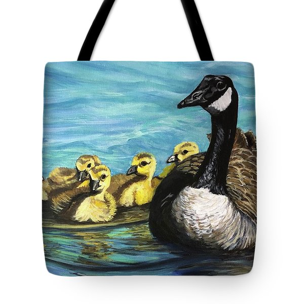 Canadian Goise And Goslings Tote Bag