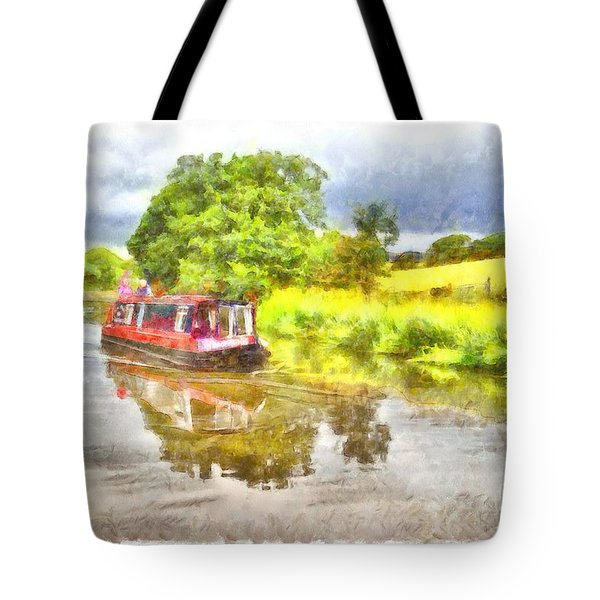 Canal Boat On The Leeds To Liverpool Canal Tote Bag