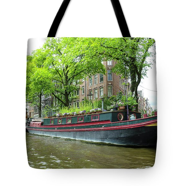 Canal Boats In Amsterdam - 2 Tote Bag