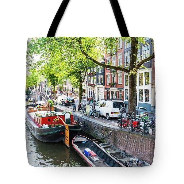 Canal Boats In Amsterdam Tote Bag