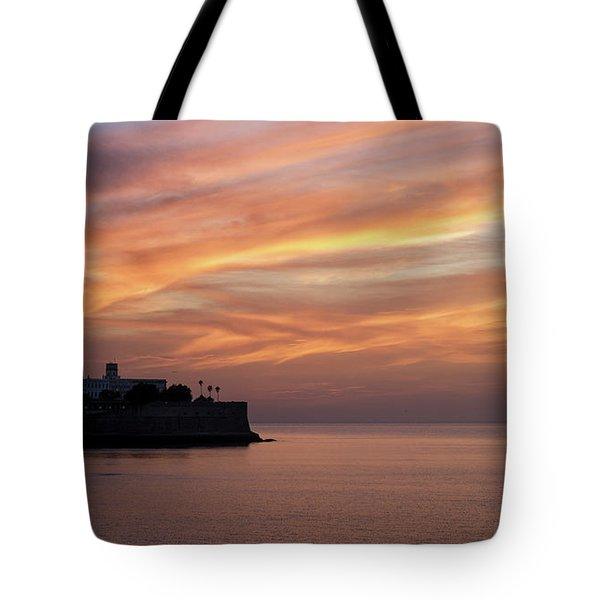 Tote Bag featuring the photograph Candelaria Bulwark At Dusk Cadiz Spain by Pablo Avanzini