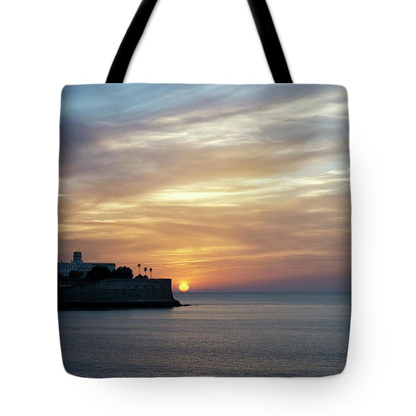 Tote Bag featuring the photograph Candelaria Bulwark At Sunset Cadiz Spain by Pablo Avanzini