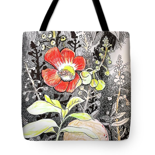 Cannonball Flower Botanical Tote Bag