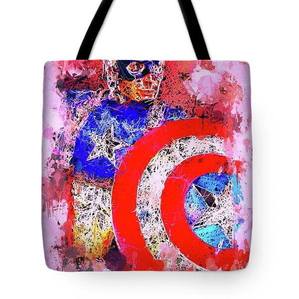 Tote Bag featuring the mixed media Captain America Watercolor by Al Matra