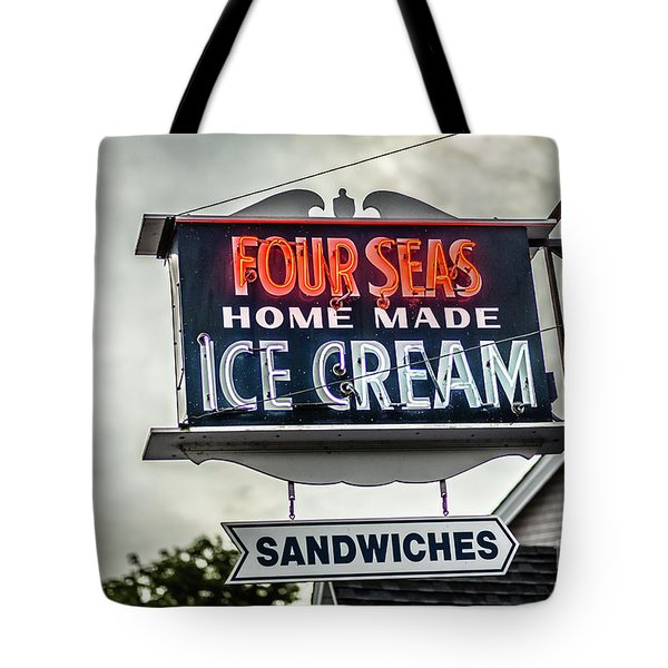 Cape Cod Four Seas Home Made Ice Cream Neon Sign Tote Bag