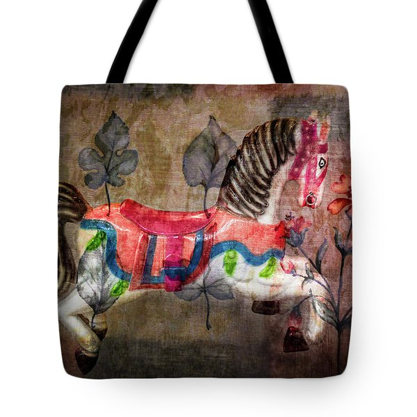Tote Bag featuring the photograph Carousel Prancing Dream by Michael Arend