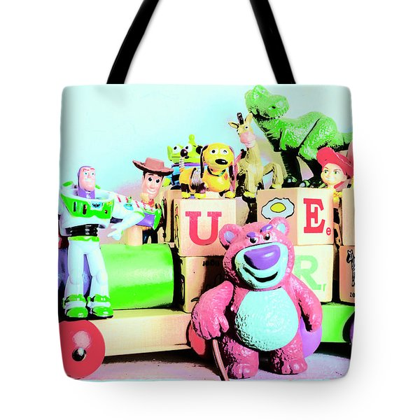 Carriage Of Cartoon Characters Tote Bag