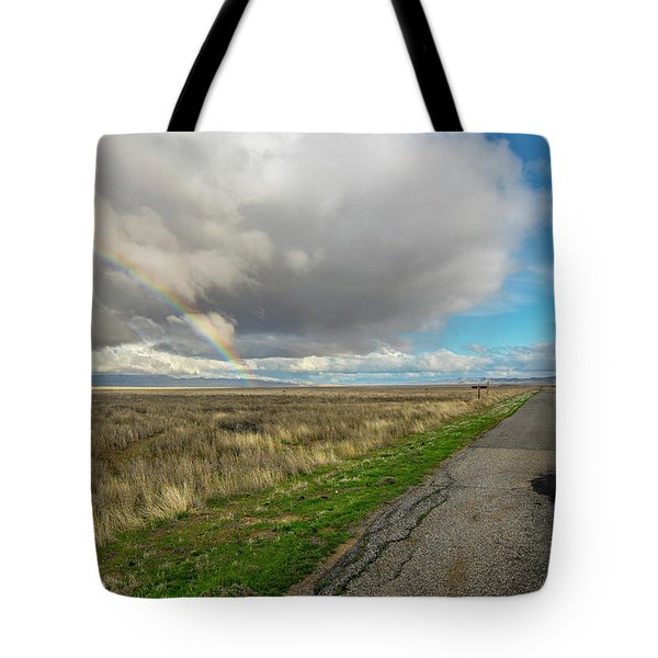 Tote Bag featuring the photograph Carrizo Rainbow And Road by Matthew Irvin