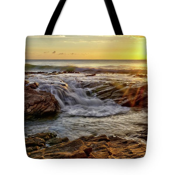 Cascading Sunset At Crystal Cove Tote Bag