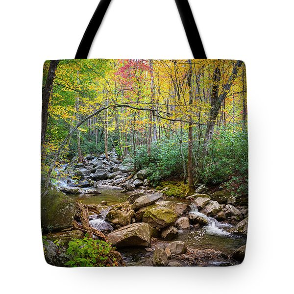 Cascading Waters In Autumn Tote Bag