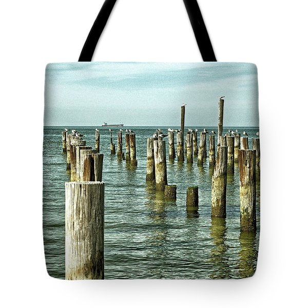 Tote Bag featuring the photograph Casino Pilings At Cape Charles Virginia by Bill Swartwout Fine Art Photography